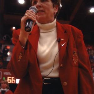 Kay Yow speaking at women's basketball game