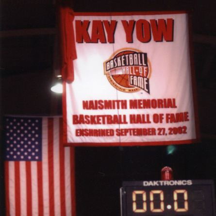 Kay Yow's Naismith Memorial Basketball Hall of Fame flag, enshrined September 27, 2002