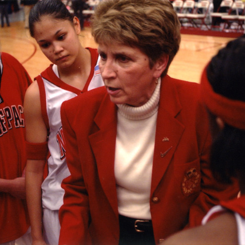 Kay Yow with players during time out