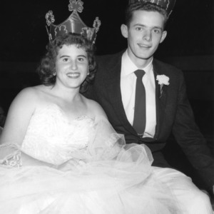 Deloris Lee and Jimmie Jones, the North Carolina 4-H king and queen of health, crowned in July 1958