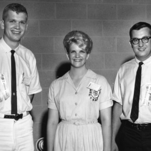 D. A. Cockman, Dianah Cockman, Wayne Adams, Jr. (Extension Agent), Moore County, North Carolina, 4-H Club poultry demonstration team, 1964