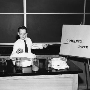 4-H club boy from Cabarrus County, participates in North Carolina State 4-H demonstration competition, 1955