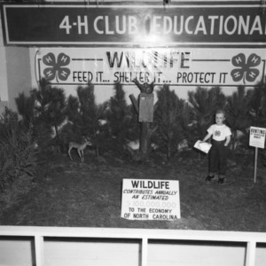 "4-H club exhibit, ""Wildlife, Feed It, Shelter It, Protect It,"" at North Carolina State Fair, 1957"