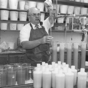 Stan Buol, professor of Soil Science, performing lab tests