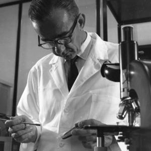 Unknown person in laboratory