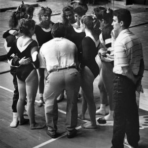 N. C. State gymnastics team at a meet