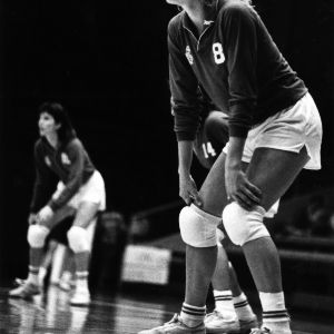 Pam Vehling during a volleyball game