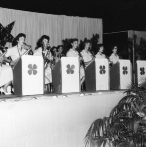 4-H club members performing in a band at North Carolina State 4-H Club Week held at North Carolina State College in Raleigh