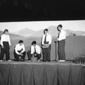 Five 4-H club members performing a skit at North Carolina State 4-H Club Week held at North Carolina State College in Raleigh