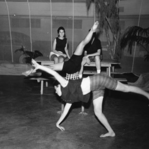 4-H club members performing gymnastics at North Carolina State 4-H Club Week at North Carolina State College in Raleigh