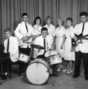 4-H club members performing in a band and singing group at North Carolina State 4-H Club Week at North Carolina State College in Raleigh