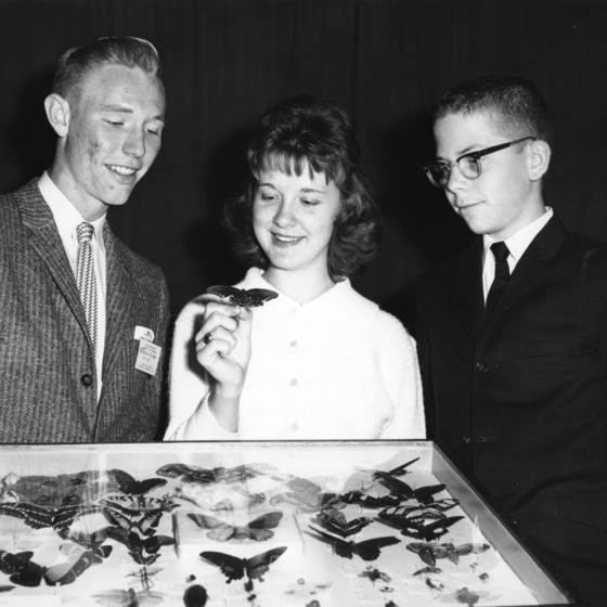 4-H members with butterfly display at Entomological Society of America Convention