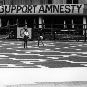 "Banner  reading ""Support Amnesty"" on the Brickyard"