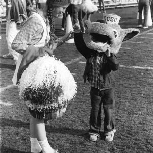 Mini mascot and cheerleader