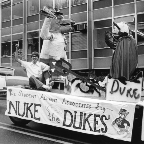 """Nuke the Dukes"" homecoming float, 1980"