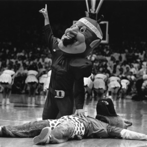 Duke's Blue Devil mascot has Mr. Wuf down