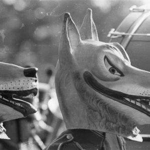 Wolf masks worn by band