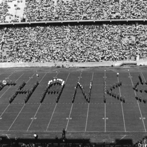 """N.C. State marching band spells out """"THANK$"""""""