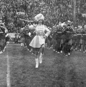 Drum majorette leading the marching band