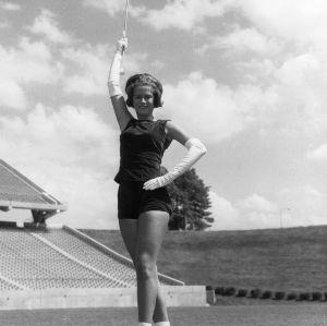 Baton twirler Joan Powell