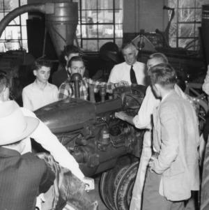 """4-H club members attending """"tractor school"""" in 1957"""
