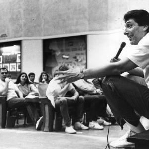 "Coach James ""Jim"" Valvano speaking to crowd"