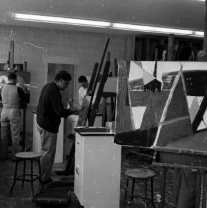 Art students at work in the classroom