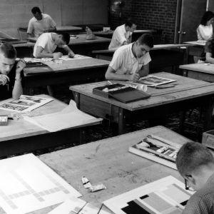 Art design students at work