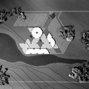 Aerial view of a landscape architectural model