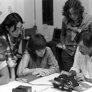 Design students discussing classwork