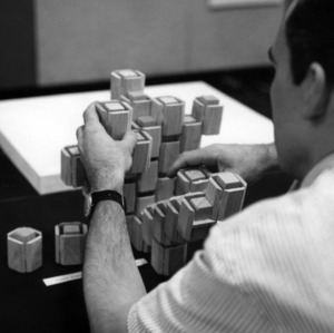 Design student creating a model