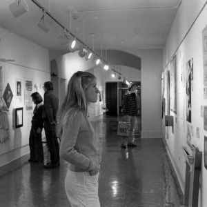 Students viewing exhibits