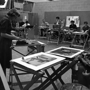 Students creating paintings