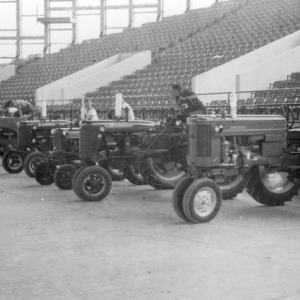 Tractors lined up at a tractor show