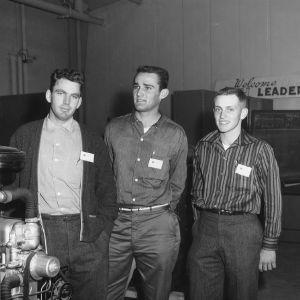 Three unidentified boys attending a 4-H club tractor program