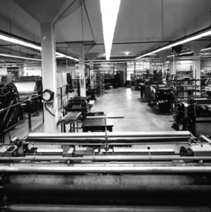 Interior view of textile lab, probably in Tompkins Hall