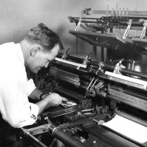 Man using a textile machine
