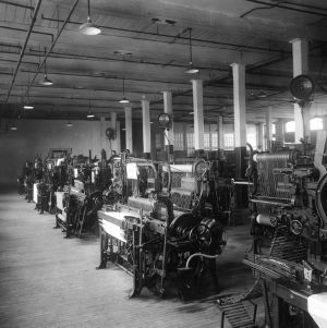 Weaving room in Textiles building (Tompkins Hall)