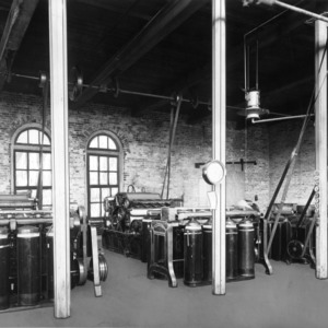 Textile machines on second floor of Tompkins Hall