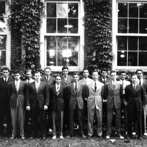 Textile students outside Tompkins Hall