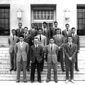 Textile students in front of Nelson Hall