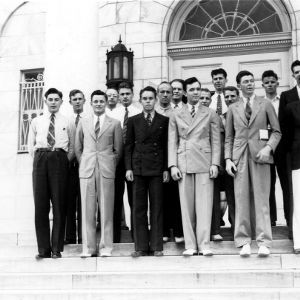 Textile students outside Nelson Hall