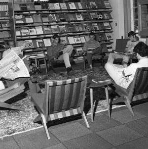Students reading in textiles library