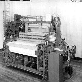 "Left-side view of a Crompton and Knowles ""Loom Works"" loom"
