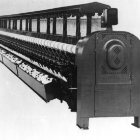 Close-up of a model 57 loom from the Foster Machine company