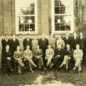 Graduating class and faculty, Textile School, North Carolina State College, Raleigh. Dean Thomas Nelson is sixth from right.
