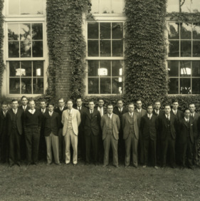 Senior class of 1929 with faculty in front of Tompkins Hall. Dean Thomas Nelson on far left.