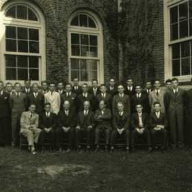 Members of the graduating class and faculty of the North Carolina State College Textile School. Dean Thomas Nelson in front row, fourth from left.