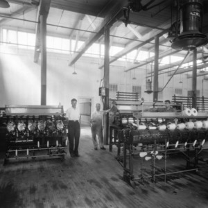 Textile machine room, probably in Tompkins Hall