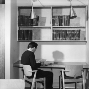 Secluded study nook under the textiles library thesis collection